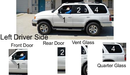 Side auto glass on a Toyota 4-Runner. Different glass parts: Door Glass, Quarter Glass, Sliding Cargo Door Glass, 